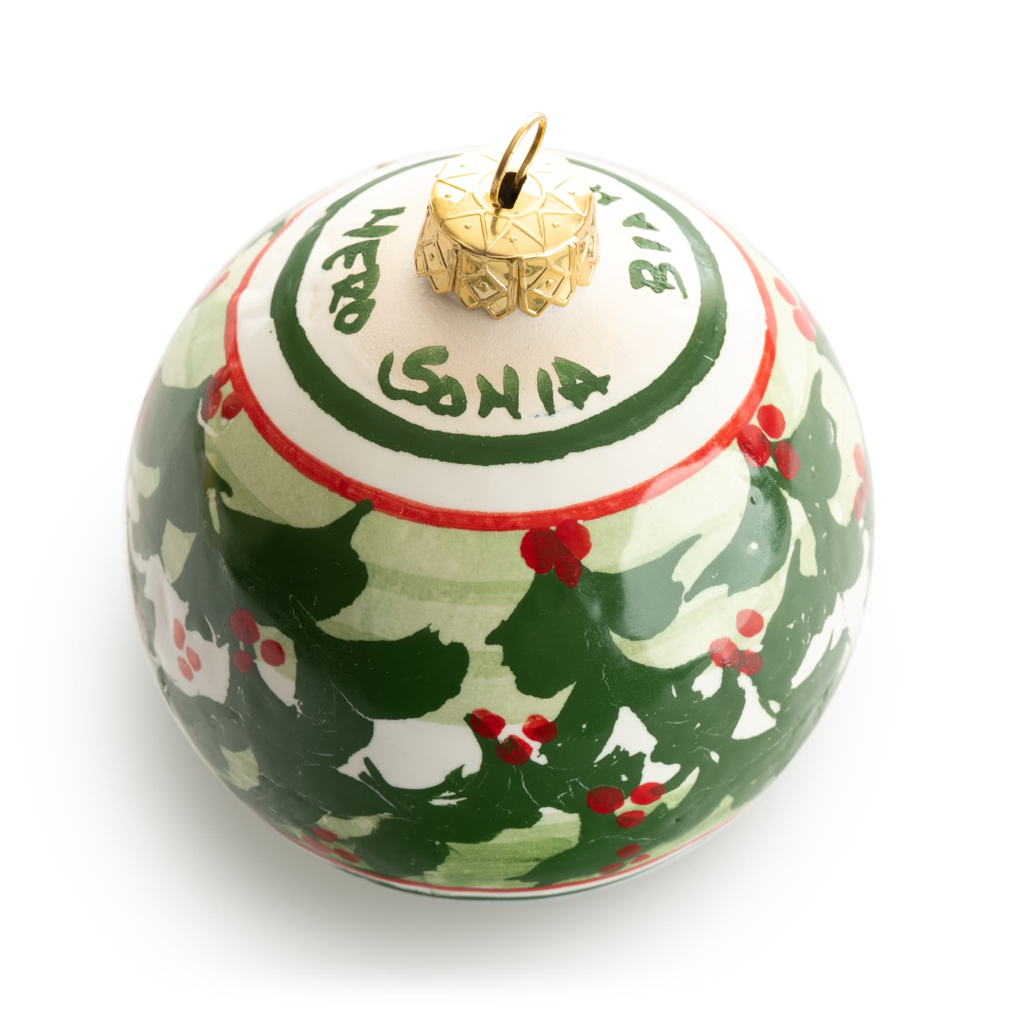 Personalized Green Holly Ornament from Siena