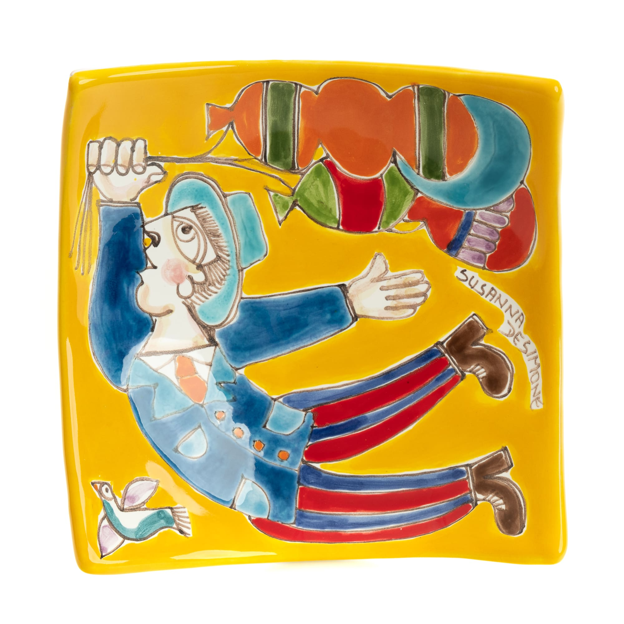 Balloon Man Square Raised Corner Ceramic Dish