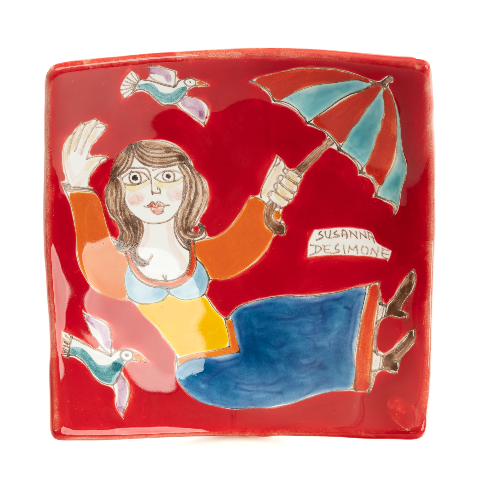 Umbrella Lady Square Raised Corner Ceramic Dish