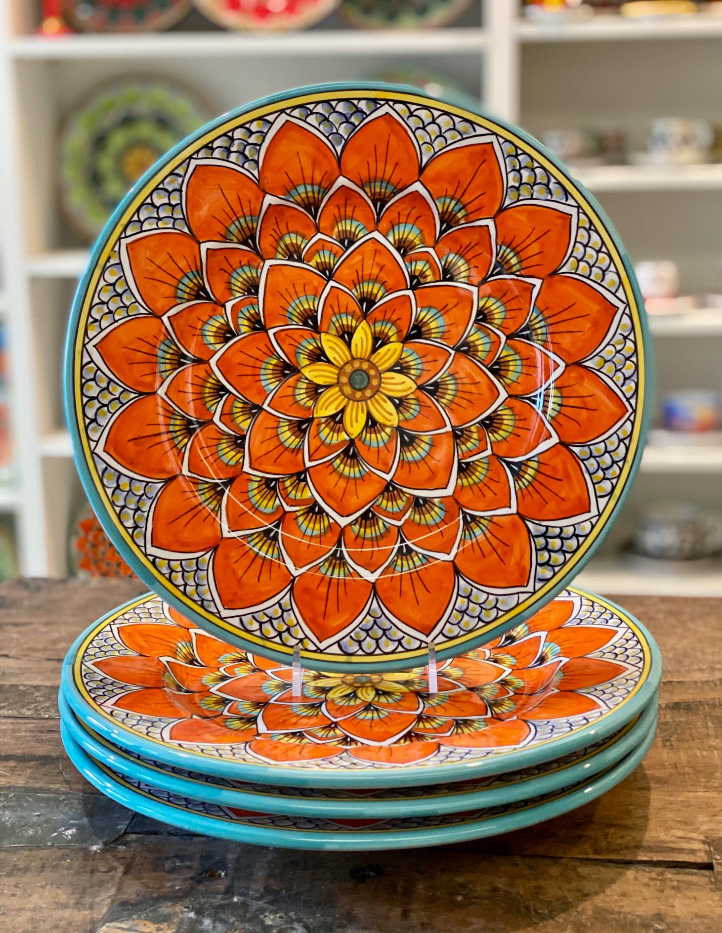 Geribi Dinnerware Plates (PG11) Burnt Orange Peacock Design - Set of 4