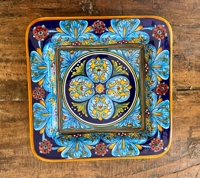 Collectible Majolica Square Plate 2, Gold Trim