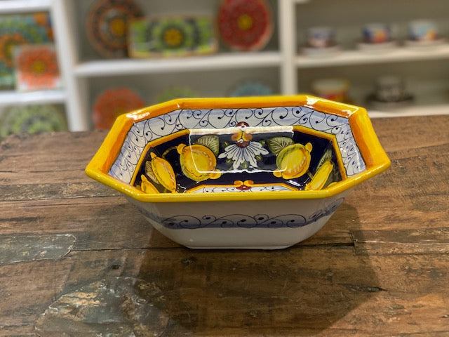 Pia Lemon Octagonal Square Bowl