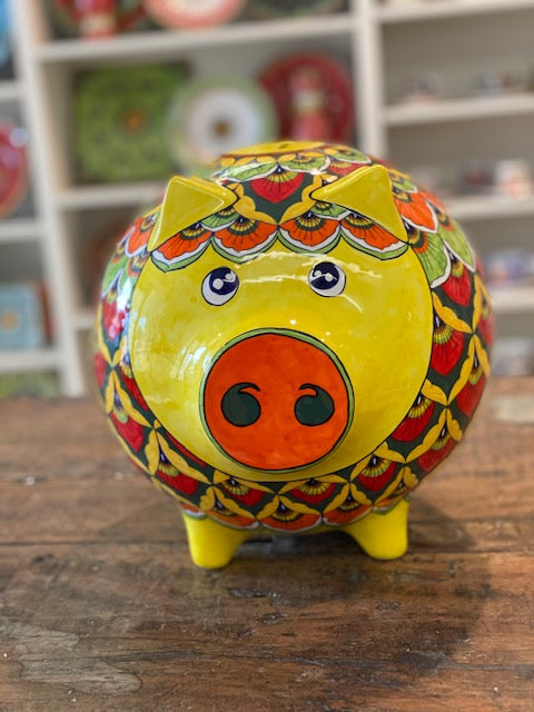 Large Yellow and Orange Peacock Piggy Bank