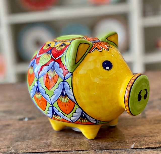 Yellow and Green Peacock Piggy Bank