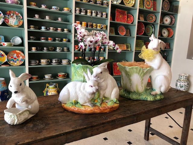 Pre-Loved & Pristine Ceramic Sitting Bunnies with Cachpot