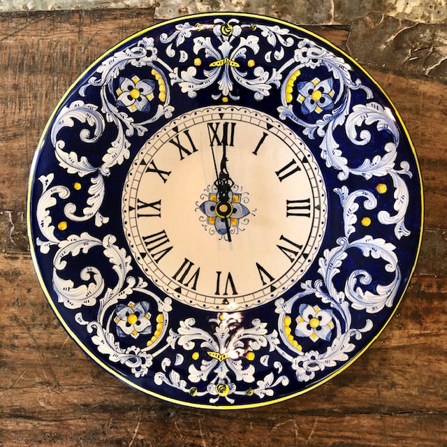 Antico Deruta Hand-painted Wall Clock