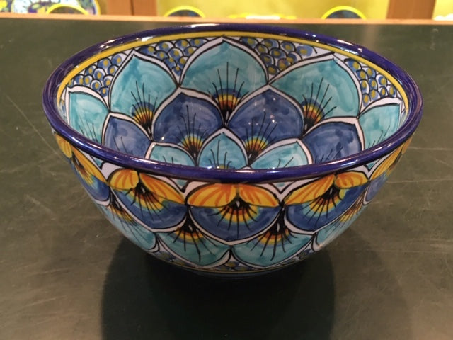 Geribi Cereal Bowl (PG09) Blues Peacock Design