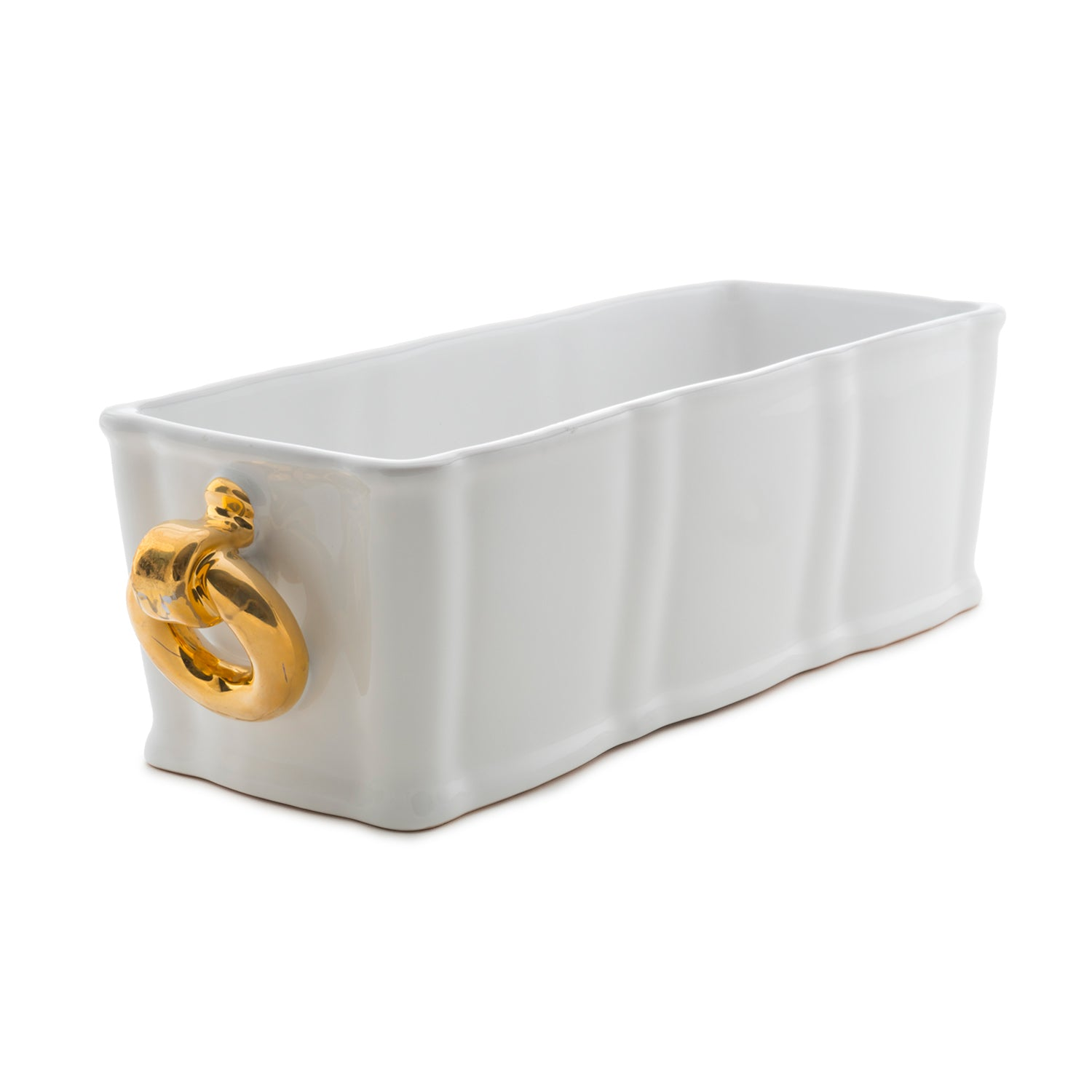 Ceramic White Planter with 12kt Gold Rings