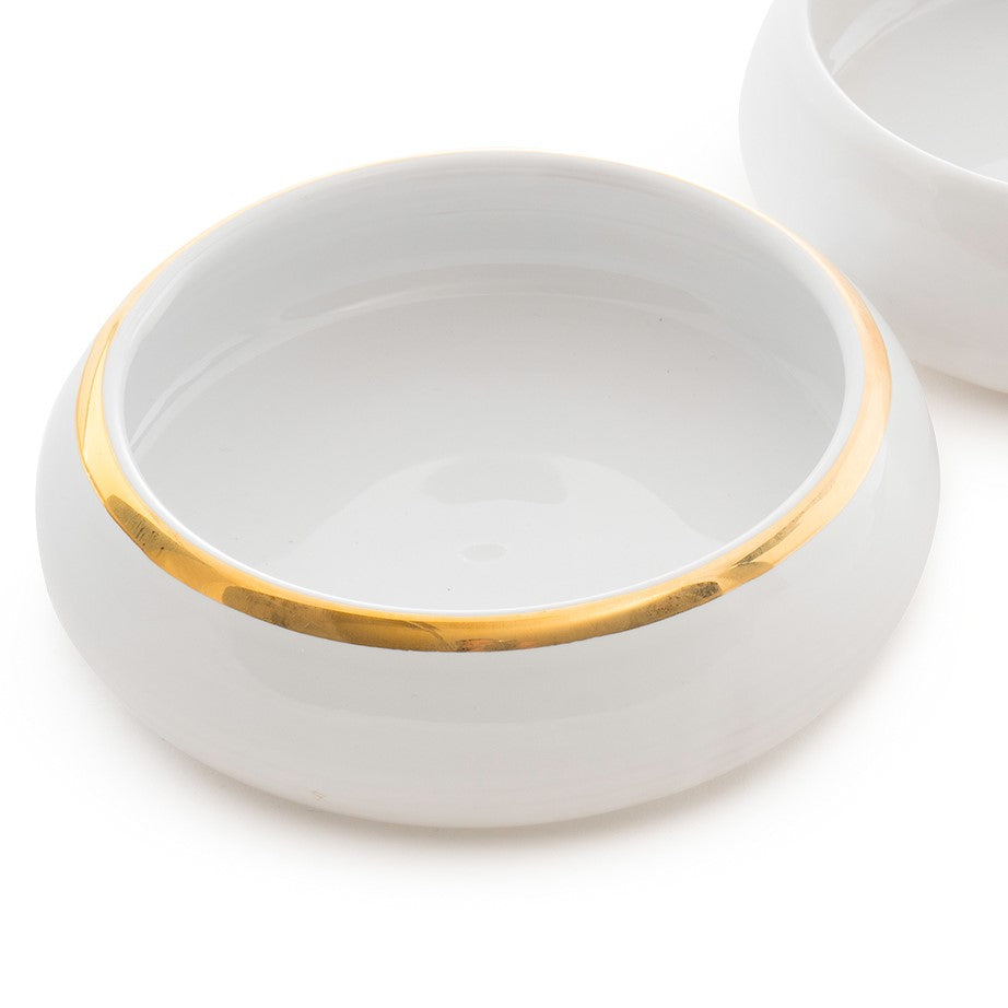 Stackable Ceramic Bowl with 12kt Gold Rim
