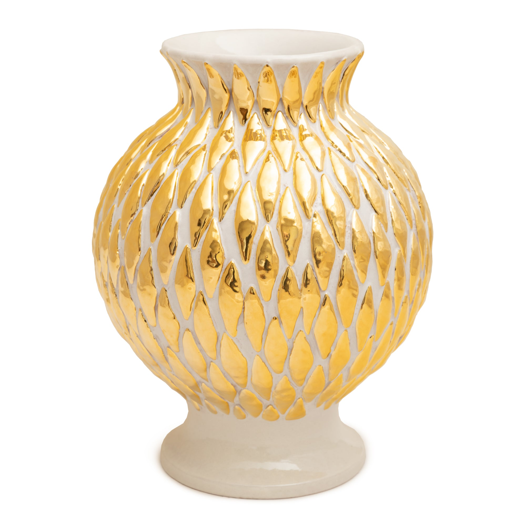 ND Dolfi 24 Karat Gold and Cream Diamond Vase