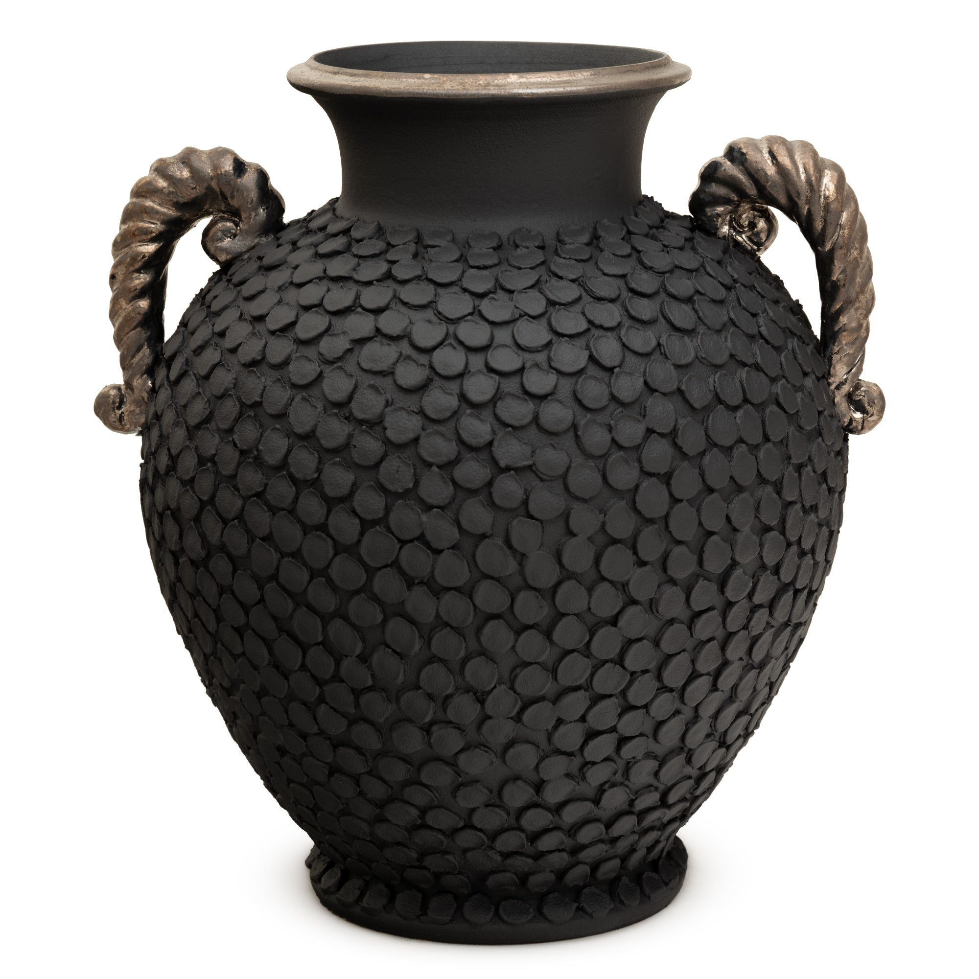 ND Dolfi Graphite Vase With Silver Accents