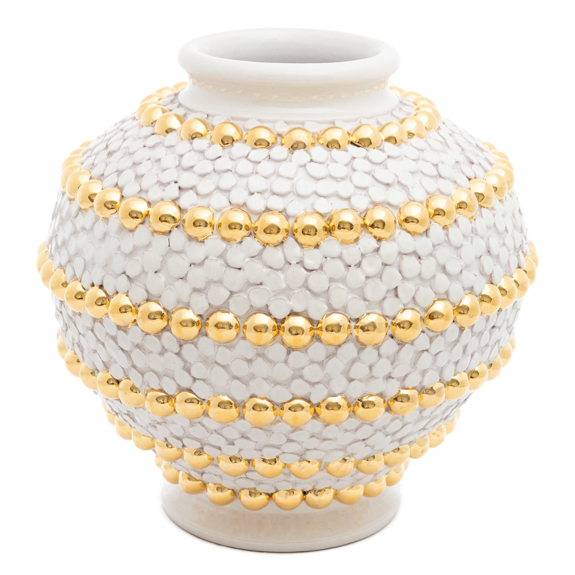 ND Dolfi Cream Ortensia And Buttons Vase With 24 Karat Gold Details