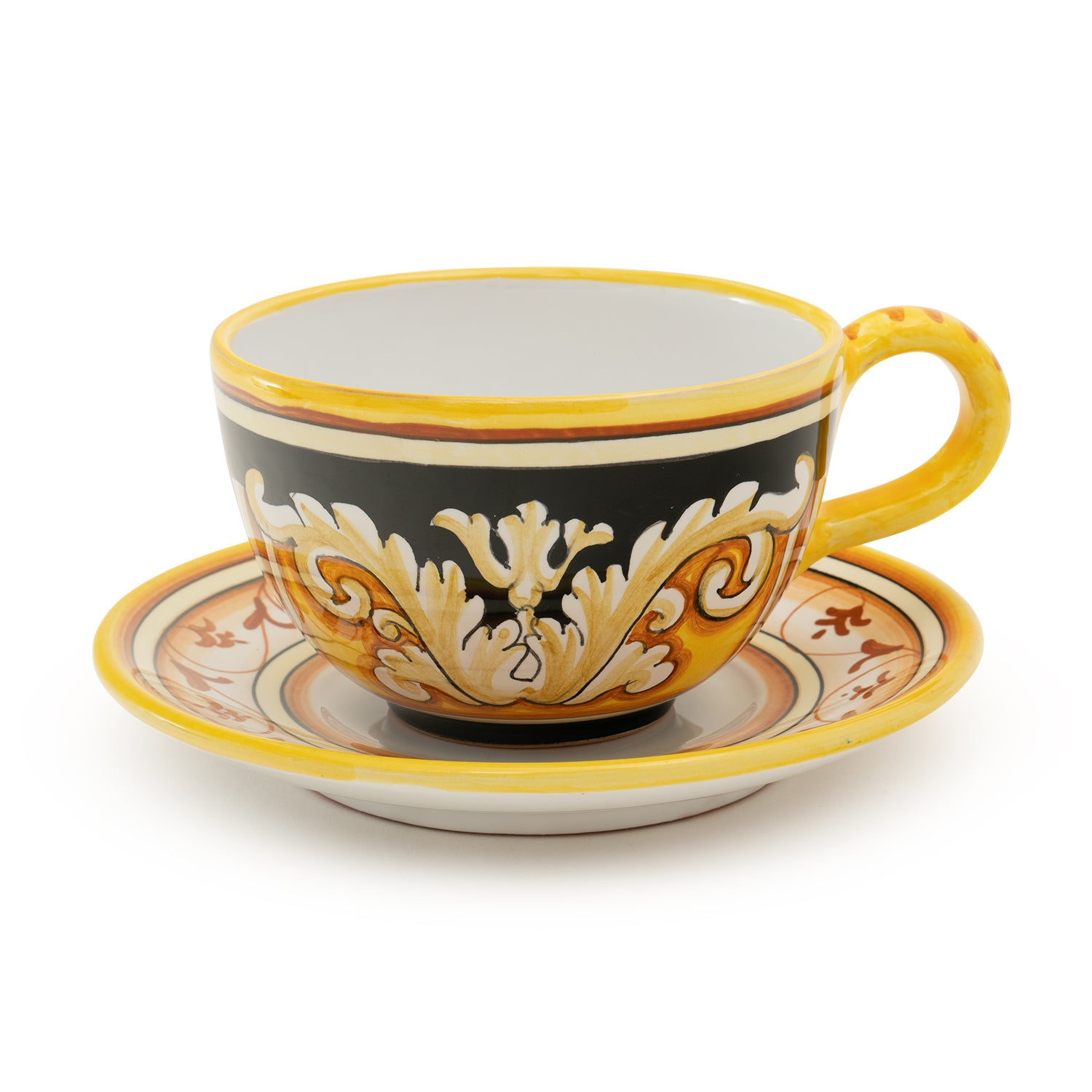 Pia Nero e Oro Latte Cup and Saucer, Round