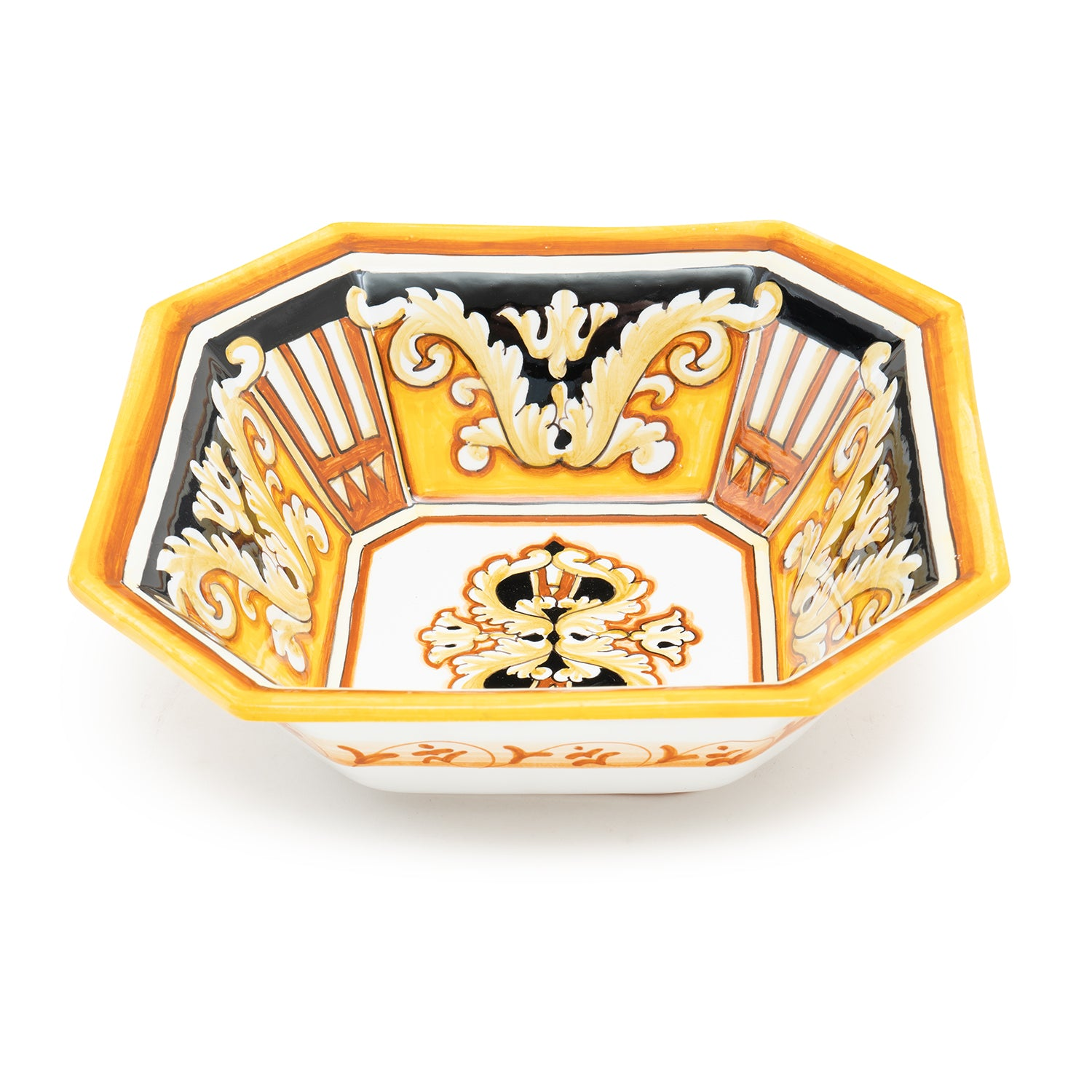 Pia Nero e Oro Full Pattern Octagonal Square Bowl