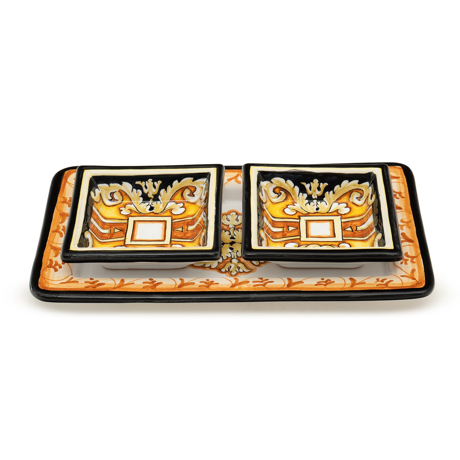 Pia Nero e Oro Rectangular Serving 3-Piece Set