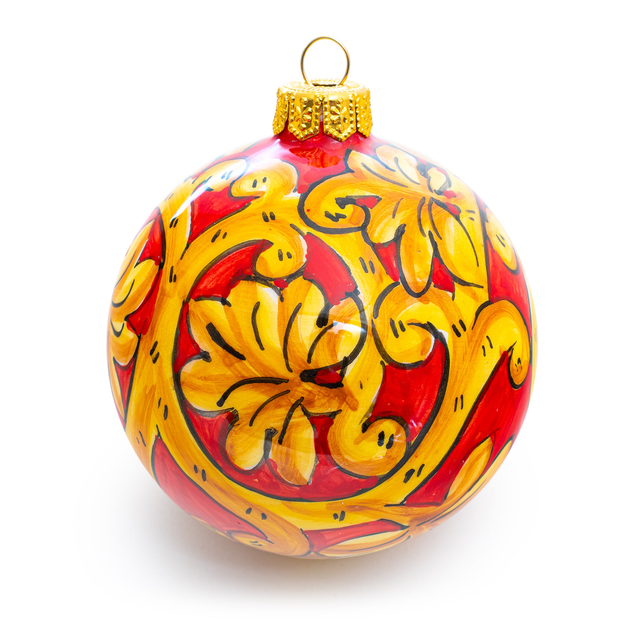 3181, Pia's Caltagirone Red Ornament, italian ceramics, pottery, made in italy, handcrafted, hand-made, hand-painted