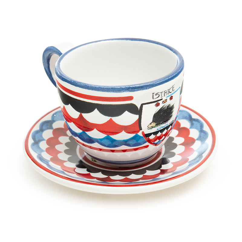 Contrade From Siena, Porcupine Espresso Cup and Saucer