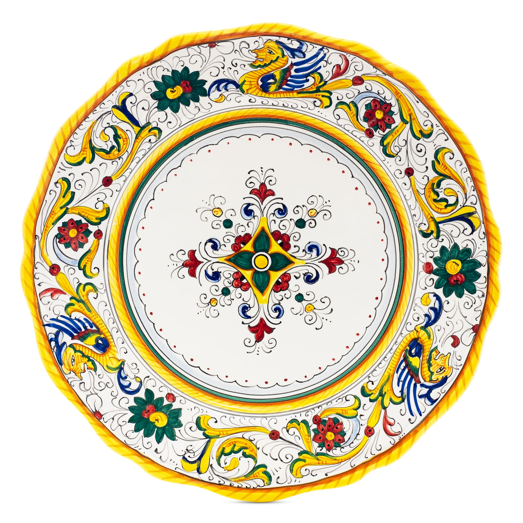 Raffaellesco Dinner Plate, Full Design Italian Ceramics from Deruta, Majolica Pottery