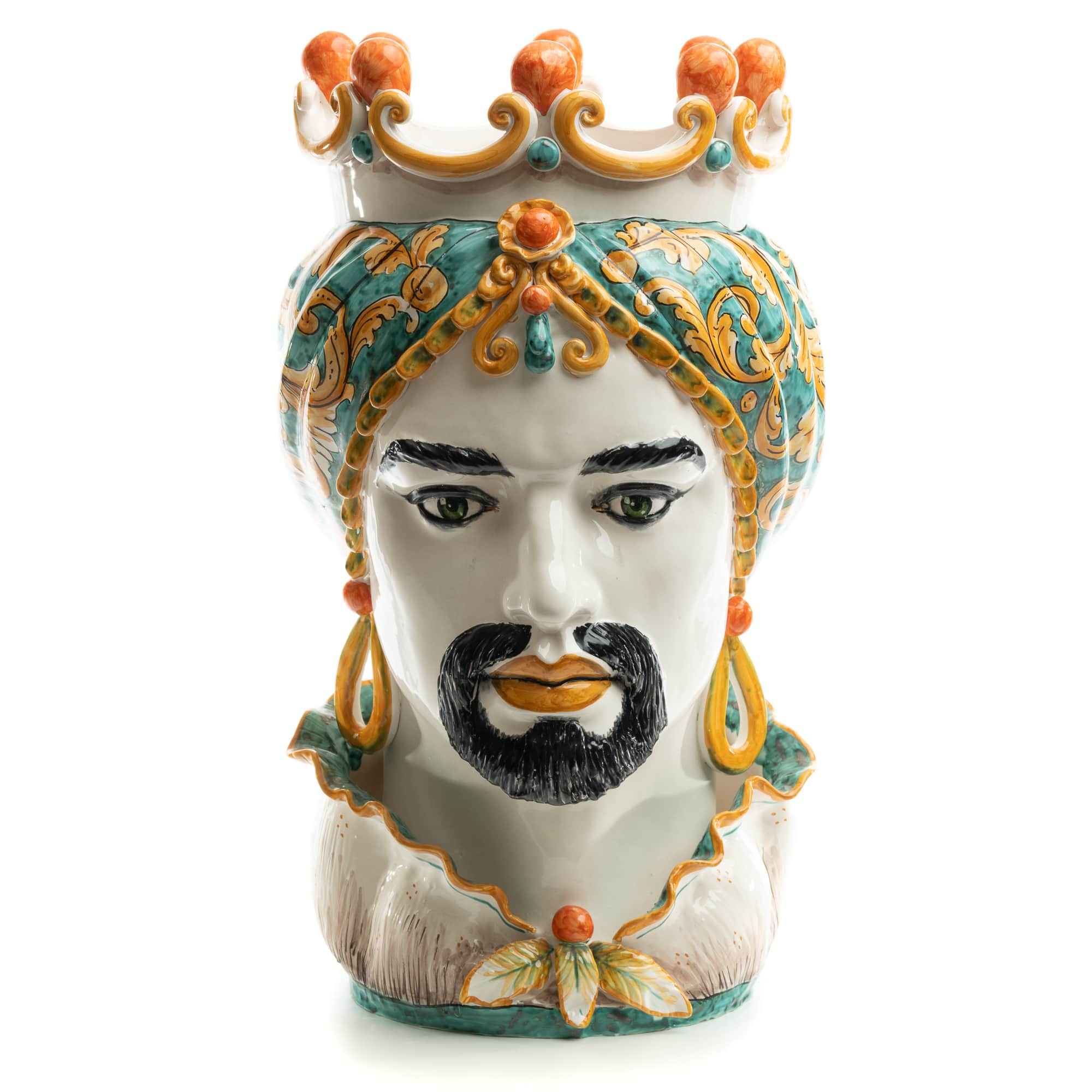 Schittone Moro Green & Orange Moorish Gigante Head