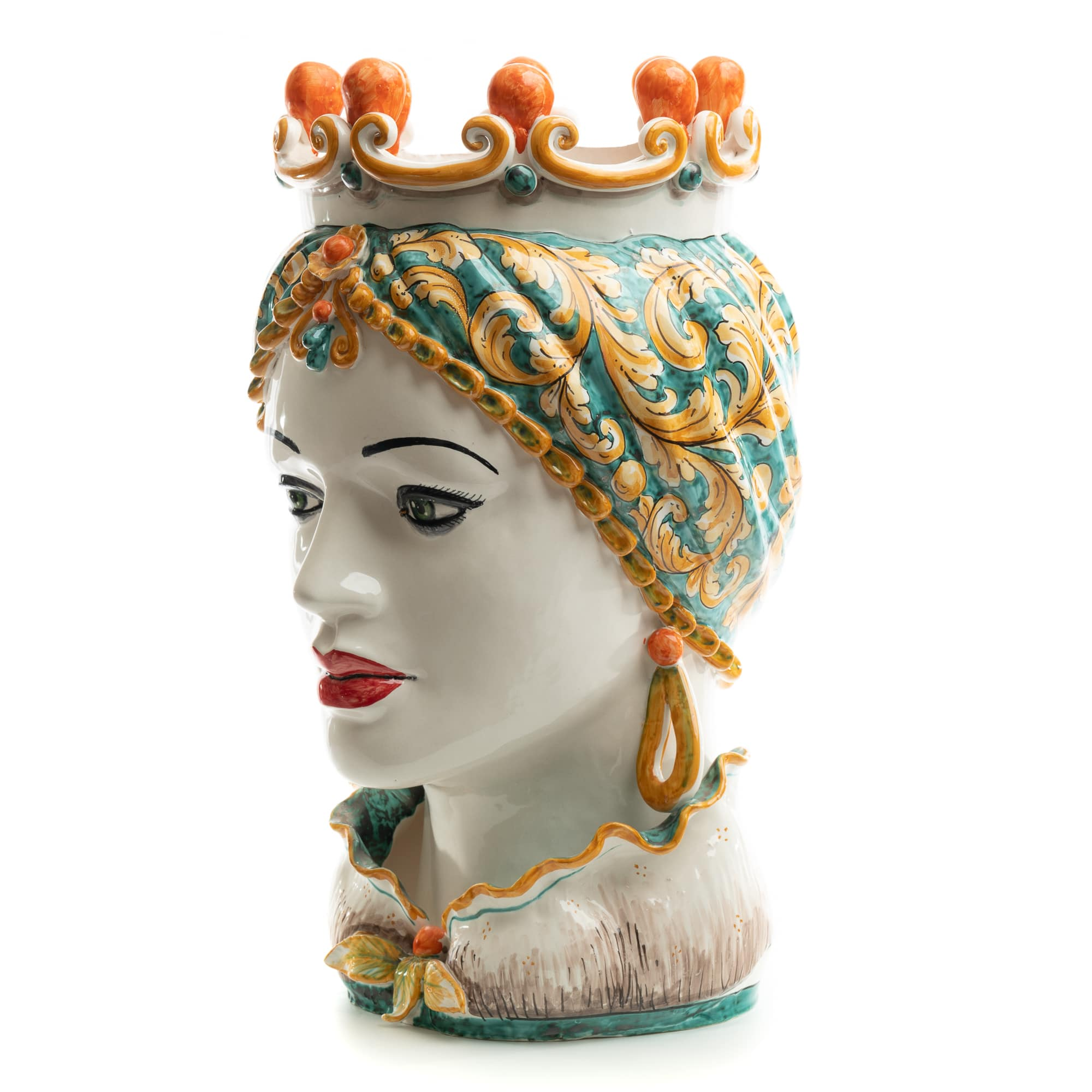 Schittone Regina Green & Orange Moorish Gigante Head