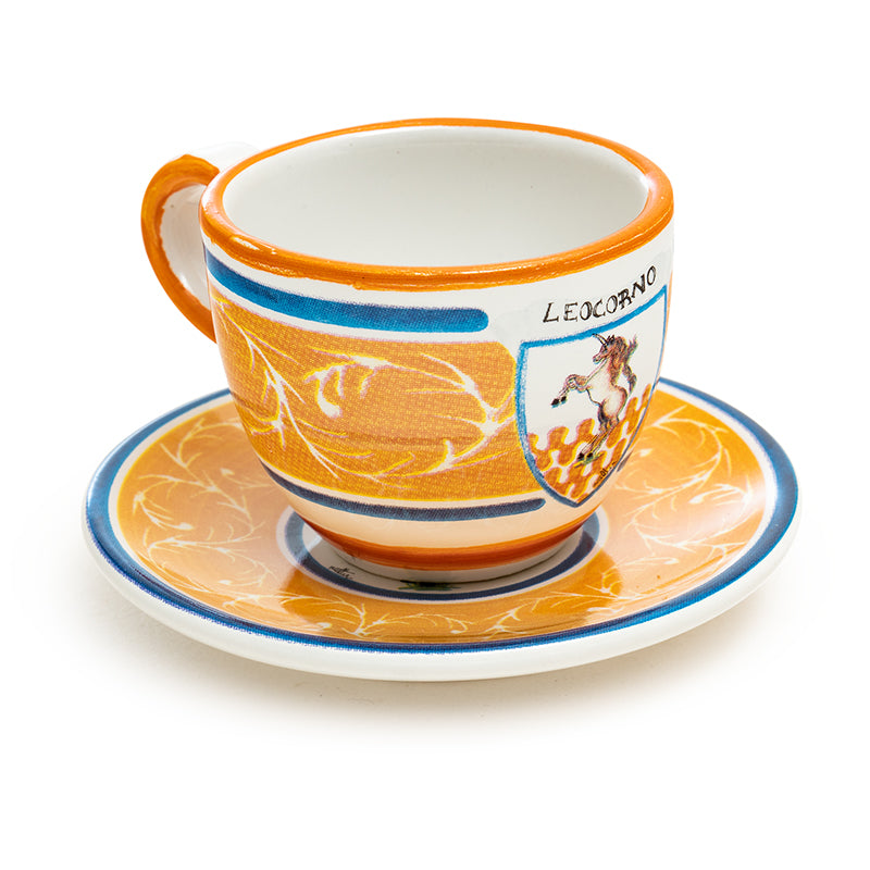 Contrade From Siena, Unicorn Espresso Cup and Saucer