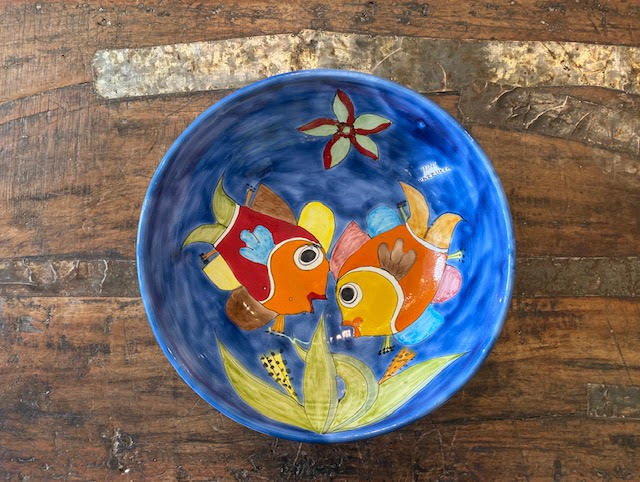 Nino Parrucca Kissing Fish Large Bowl With Flowers Pre-Owned Pottery