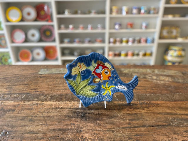 Nino Parrucca Blue Fish Tray Pre-Owned Pottery