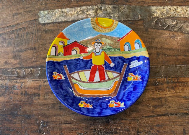 Nino Parrucca Man On Boat Wall Plate Pre-Owned Pottery