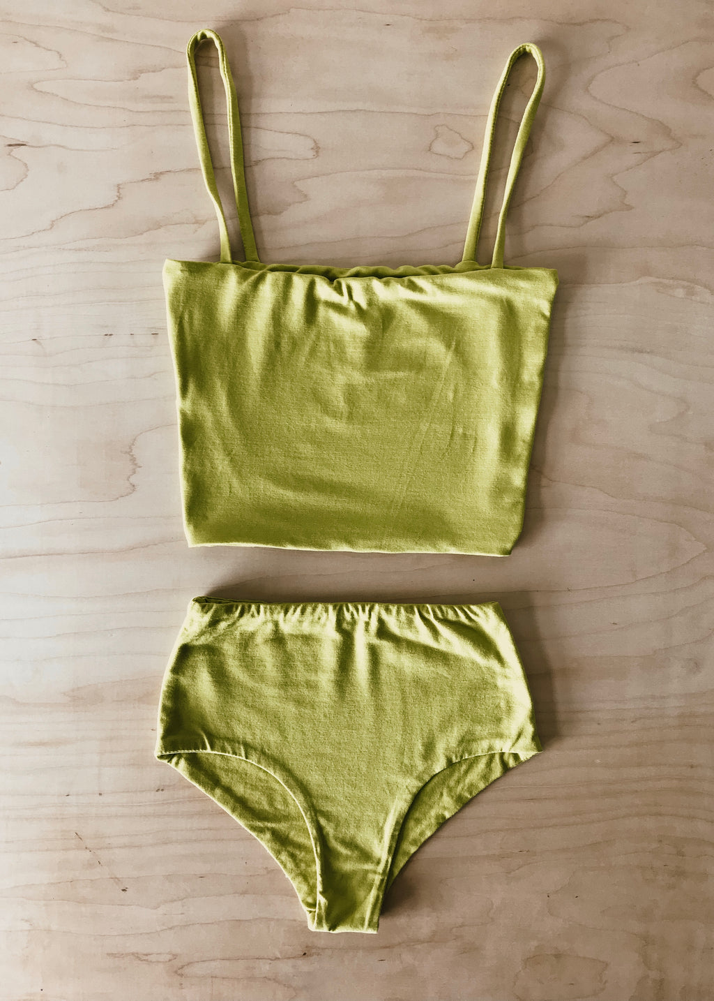 BAMBOO CROP TOP SET - KIWI