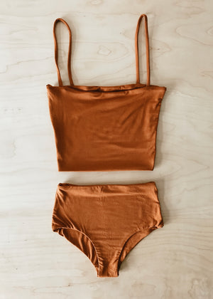 BAMBOO CROP TOP SET - CLAY