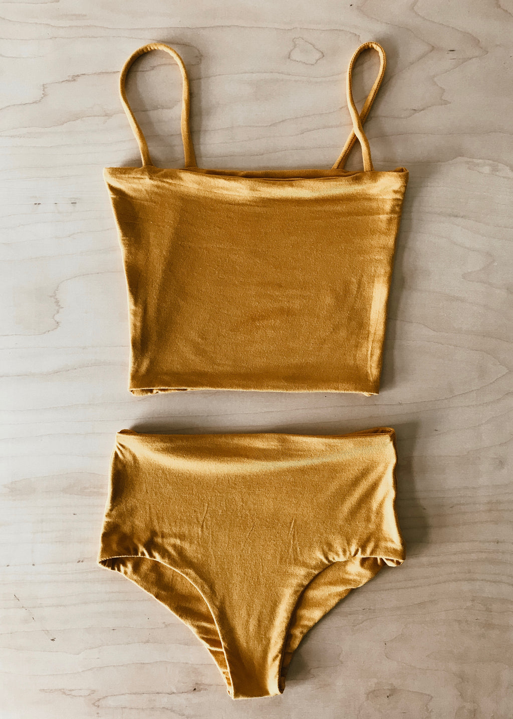 BAMBOO CROP TOP SET - MANGO