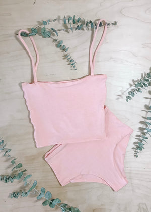 BAMBOO CROP TOP SET - PEACH