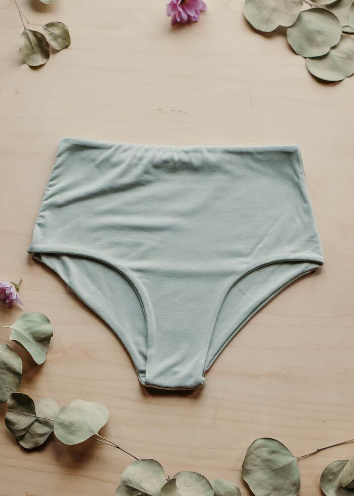 LOUNGE CLASSIC HIGH WAISTED BOTTOM  -  SAGE