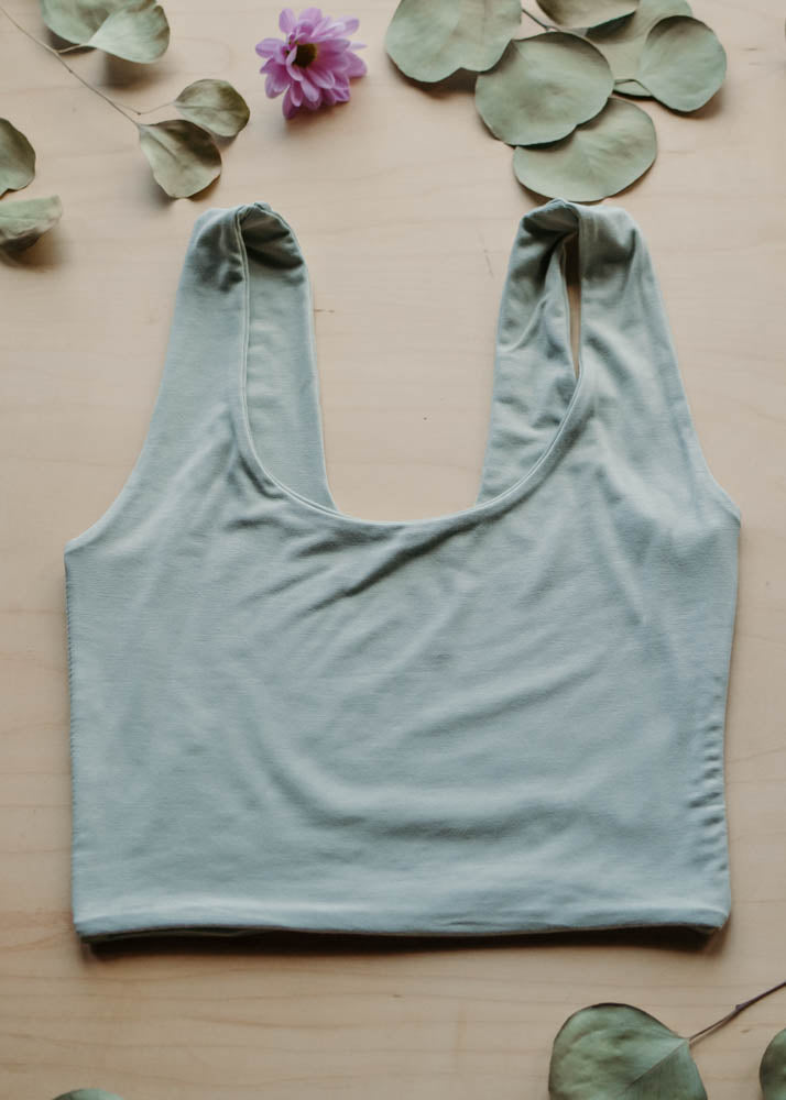 LOUNGE LEONA CROP TOP - SAGE