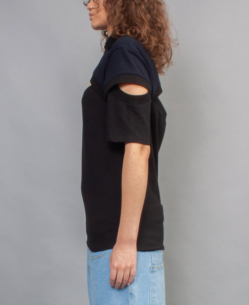 OVERSIZED POLO SHIRT (color: black + navy)