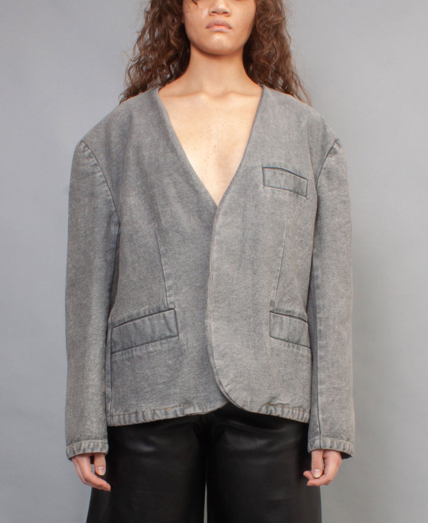 COLLARLESS DENIM BLAZER JACKET  *online exclusive*