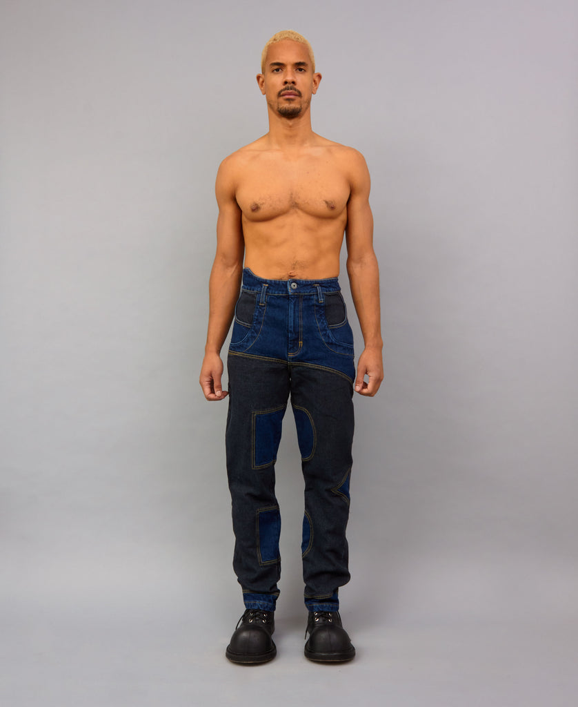 B BOTTOM JEANS (color: black on blue)
