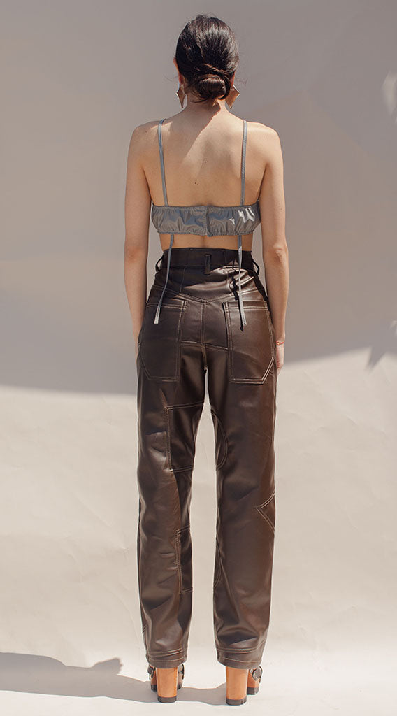 Brown Leather B-Pants