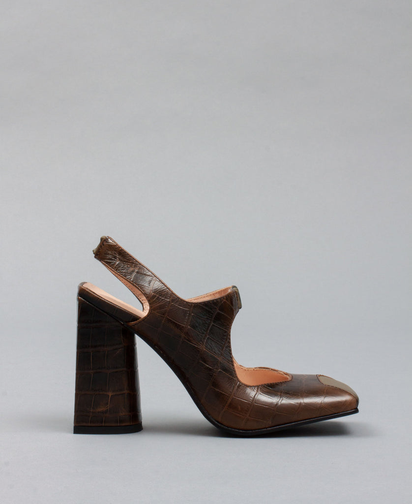 PLANA MARY JANE HEELS (color: brown croc)