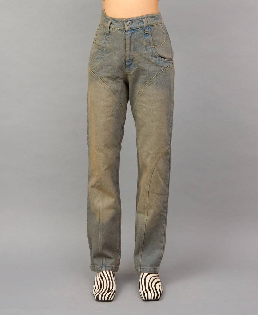 DIRTY WASH JEANS (color: dusty blue)