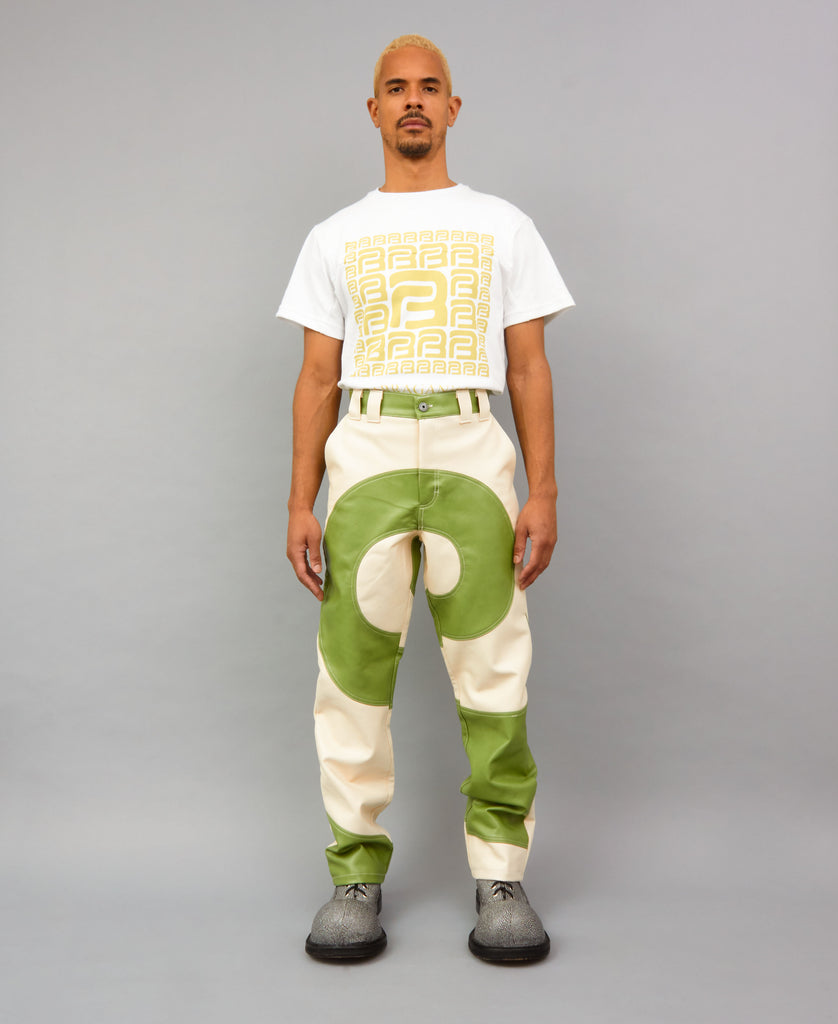 COSMIC SPIRAL PANTS (color: green + ivory)