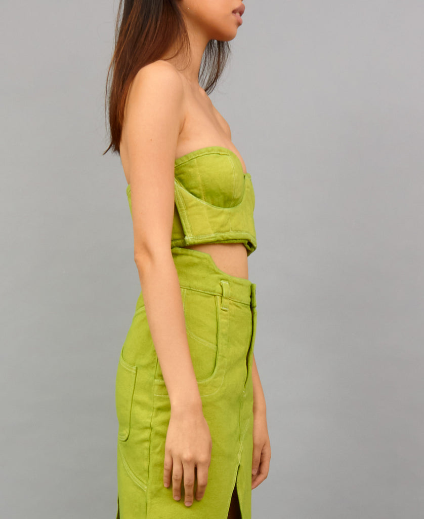 TRABAHOE WORKWEAR BUSTIER TOP (color: lime)