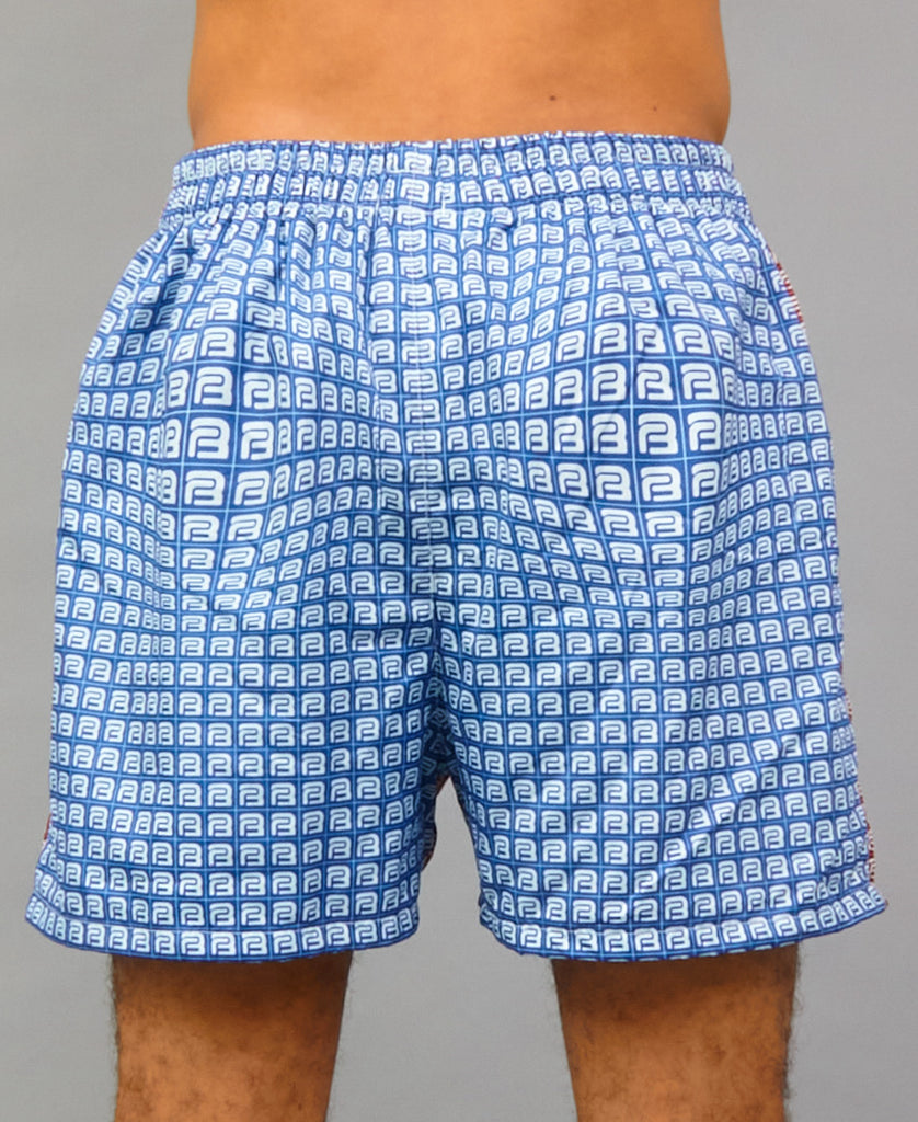 TWO-TONE SWIM SHELL SHORTS (color: red + blue)