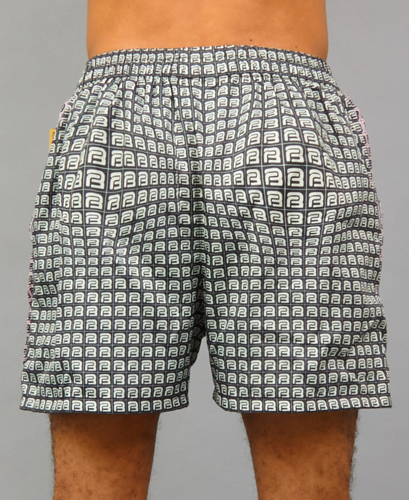 TWO-TONE SWIM SHELL SHORTS (color: pink + gray)