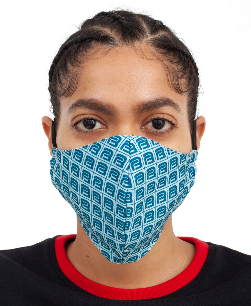 MONOGRAM FACE MASK (color: blue)