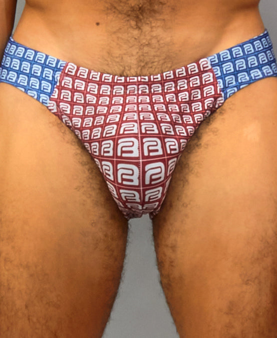 B-KINI SWIM BRIEF (color: red + blue)