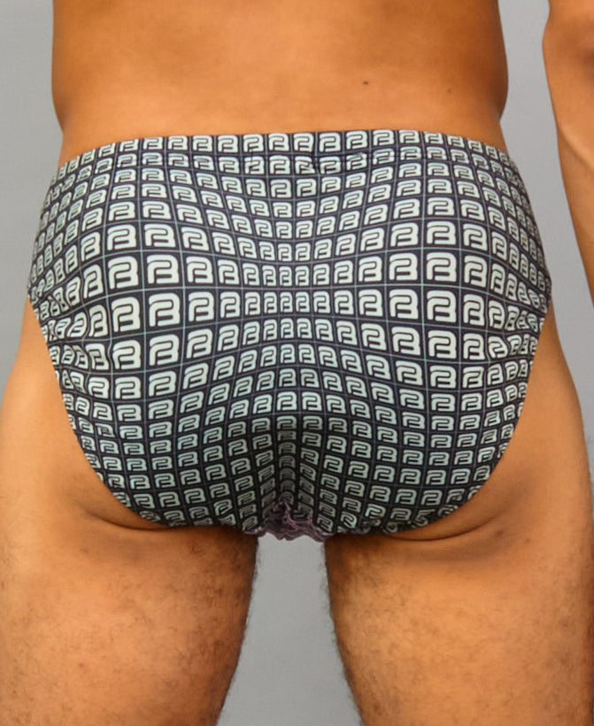 B-KINI SWIM BRIEF (color: pink + gray)