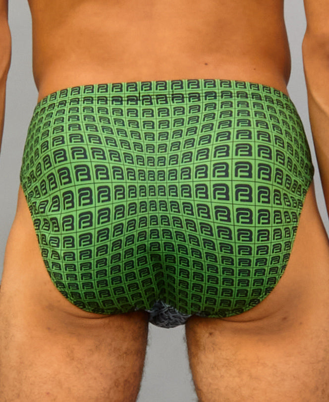 B-KINI SWIM BRIEF (color: green + gray)