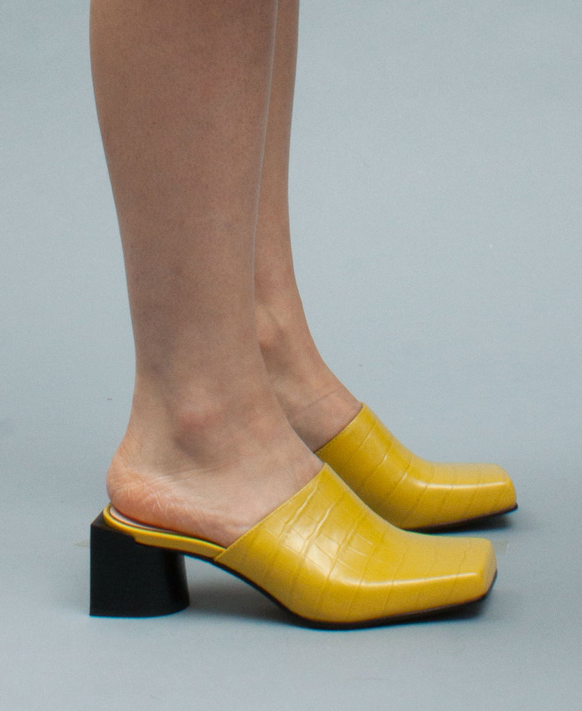 PLANA MULES (color: lemon yellow)