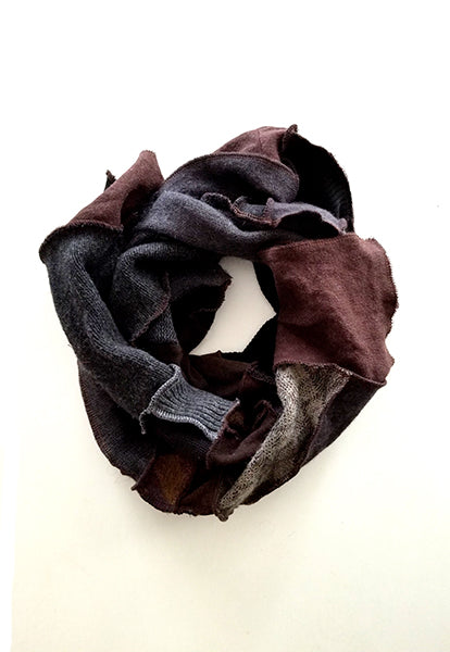 Dark Brown Patchwork Scarf - FOAT